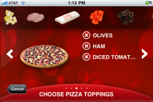 Configuring and ordering your pizza is a snap using Pizza Hut's iPhone App.